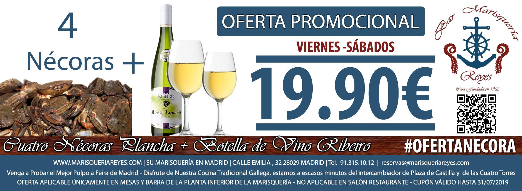 Promoción Oferta 4 Nécoras + Botella de Ribeiro 19,90 € Las Mejores Nécoras de Madrid en Marisquería Reyes, a Escasos Metros de Plaza de Castilla