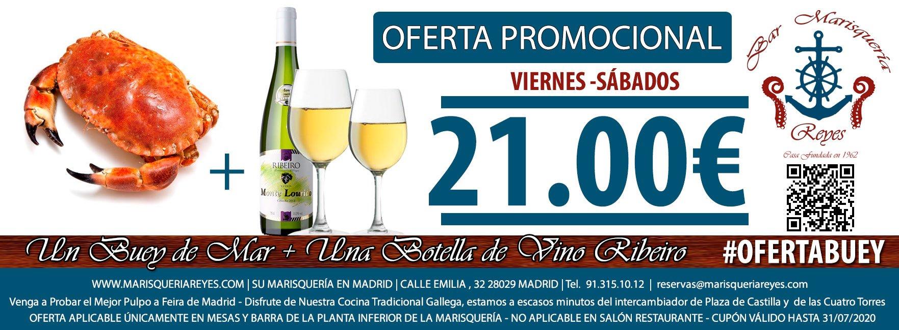 Promoción Buey de Mar + Botella de Ribeiro 21 €