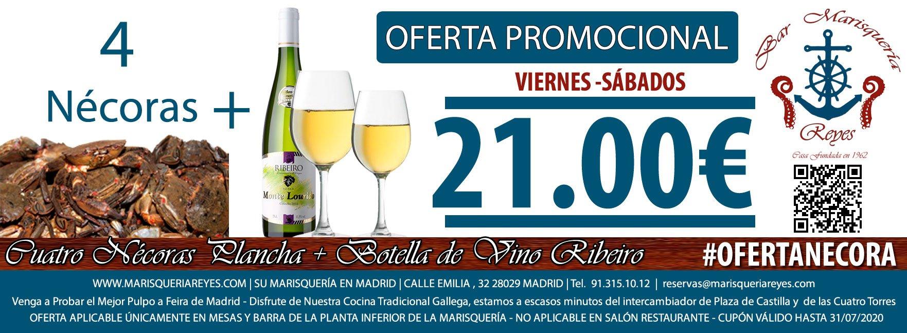 Promoción Oferta 4 Nécoras + Botella de Ribeiro 21 € Las Mejores Nécoras de Madrid en Marisquería Reyes, a Escasos Metros de Plaza de Castilla