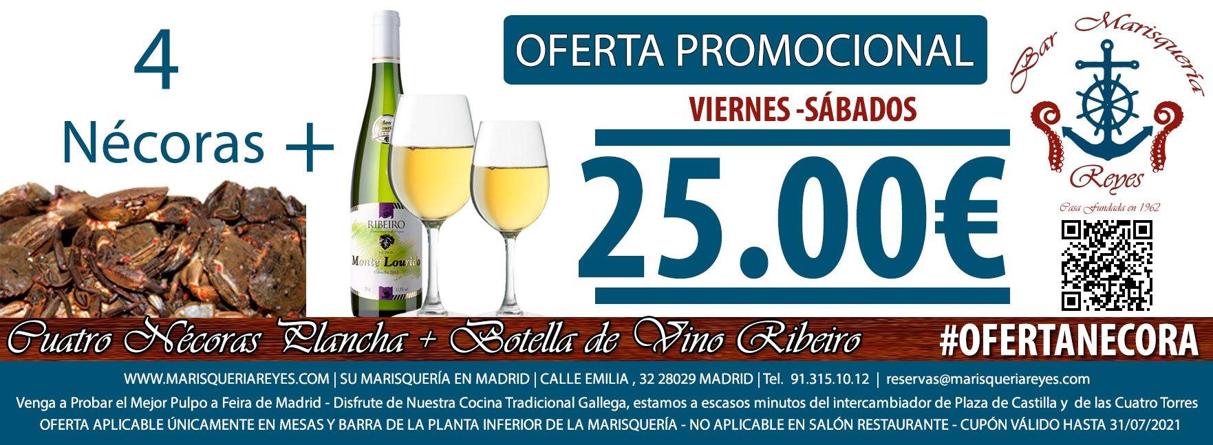 Promoción Oferta 4 Nécoras + Botella de Ribeiro 25 € Las Mejores Nécoras de Madrid en Marisquería Reyes, a Escasos Metros de Plaza de Castilla